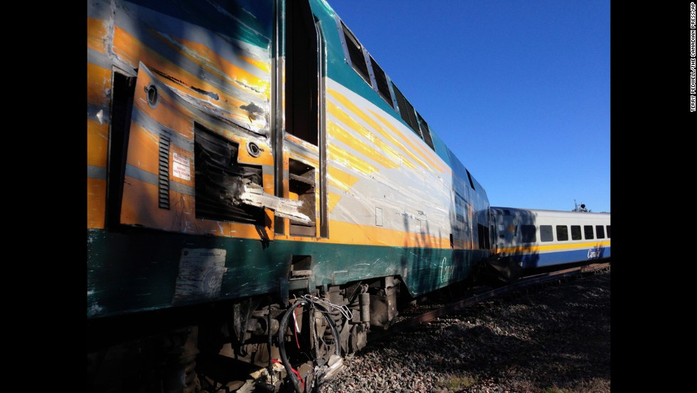 The Via Rail passenger train sits on the tracks on September 18.