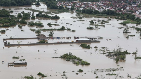An aeriel view shows a flooded area in Acapulco, Mexico on September 17.