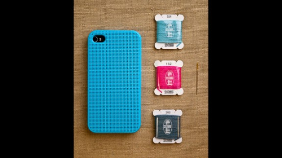 """Analog, meet digital. This custom <a href=""""http://www.purlsoho.com/purl/products/item/8333-Leese-Design-iPhone-4-4S-Cross-Stitch-Case"""" target=""""_blank"""" target=""""_blank"""">cross-stitch case</a> from Purl Soho is perfect for crafters everywhere."""