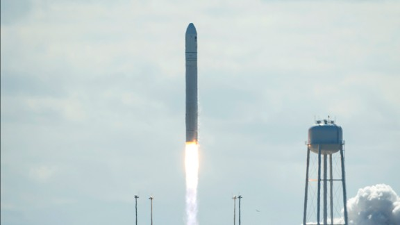 Virginia-based Orbital Sciences Corp. sent up its first entry into the space freight business Wednesday, September 18, with the launch of a new unmanned cargo carrier to the International Space Station.