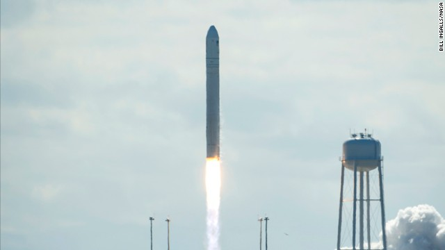 Orbital Sciences launched its first unmanned Cygnus cargo ship into orbit from Wallops Island, Virginia, on Wednesday.