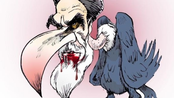 Kowsar, who says he was inspired by Animal Farm, continues to depict Iran's leaders in beastly form.