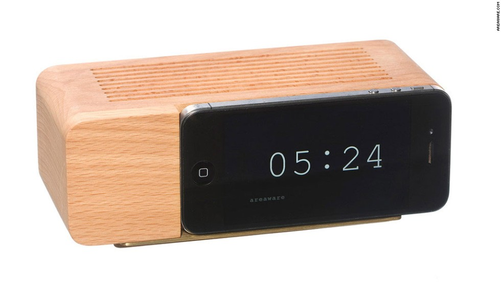 "The flip clock is back, this time in digital form by <a href=""http://www.areaware.com/collections/desk-office/products/iphone5-alarm-dock"" target=""_blank"">Areaware</a>."