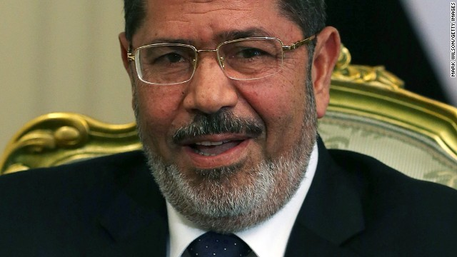 Former Egyptian President Mohamed Morsy at the Presidential Palace on July 31, 2012 in Cairo, Egypt.