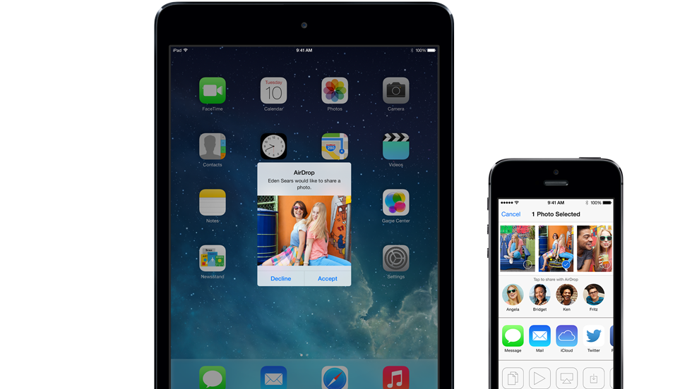 iOS users can transfer images and files to other Apple devices using AirDrop.