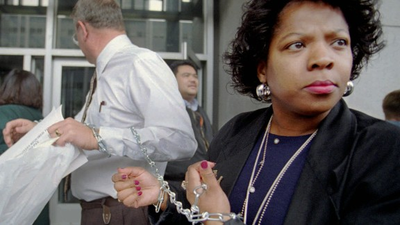 Karen Bishop chains herself to colleagues during a rally at the Federal Building in San Francisco on January 3, 1996. The workers claimed they were in servitude to the government as hundreds of thousands of federal employees were either furloughed or had to work without pay.
