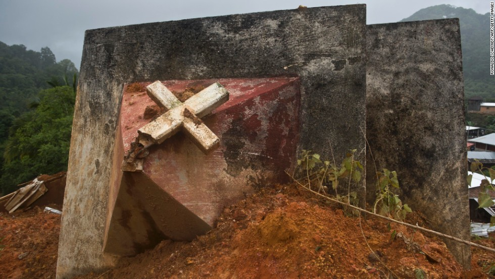 Church tower lies toppled after a landslide in La Pintada, Guerrero state, on September 19.