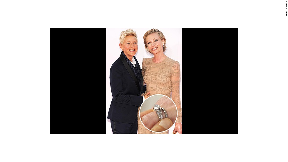 Ellen DeGeneres famously proposed to Portia de Rossi in 2008 with a three-carat Neil Lane diamond ring while they were both tending to a pet goldfish.<br />