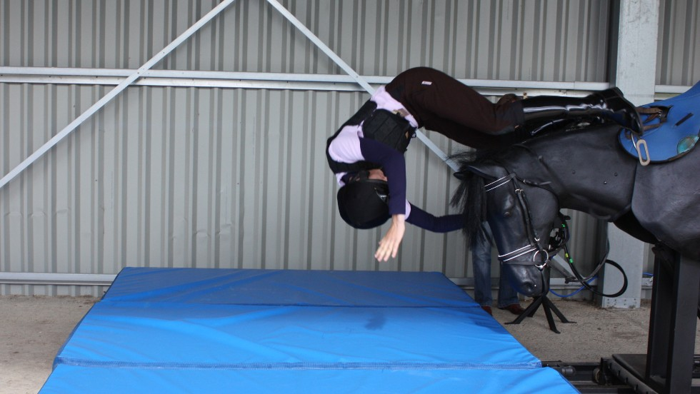 The 'Equichute Simulator' is a machine designed to enable jockeys to practice rolling out of a fall - a technique cited as the best way to escape serious injury. Oaksey House also boasts a treadmill designed for astronauts by NASA, one which allows its user to exercise under reduced gravity.