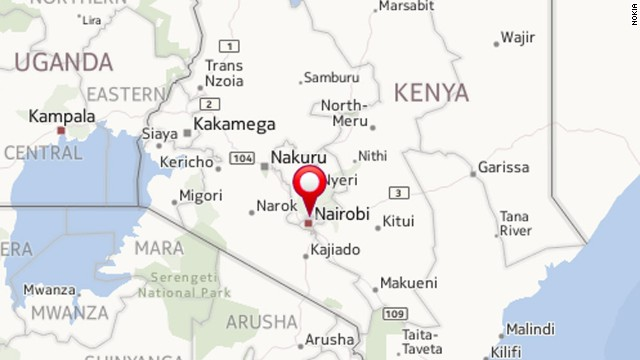 Map showing the location of the Kenyan capital, Nairobi.