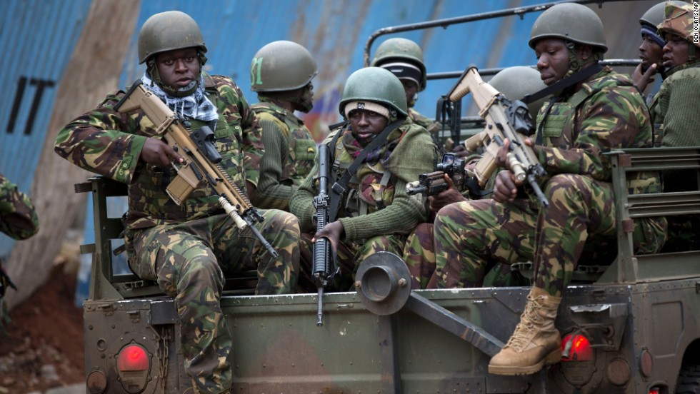 Soldiers from the Kenya Defense Forces arrive outside the Westgate Mall on September 22.