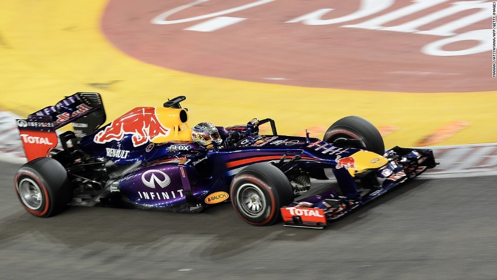 The Red Bull driver won at the Marina Bay street circuit for the third year in a row, triumphing by more than half a minute despite his progress being slowed by the safety car halfway through the race.