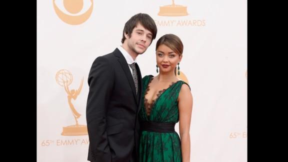 Matt Prokop, left, and Sarah Hyland at the 2013 Emmys.