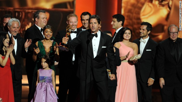 Steven Levitan (holding Emmy) speaks onstage during the 65th Annual Primetime Emmy Awards in Los Angeles, California.