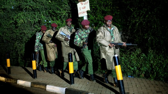 Kenyan Defense Forces walk near the mall on Monday, September 23.