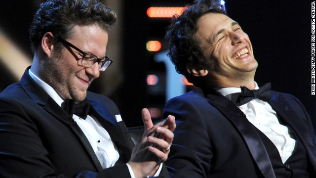 (From left) Roast Master Seth Rogen and James Franco onstage during the Comedy Central Roast of Franco in Culver City, California, August 25, 2013.