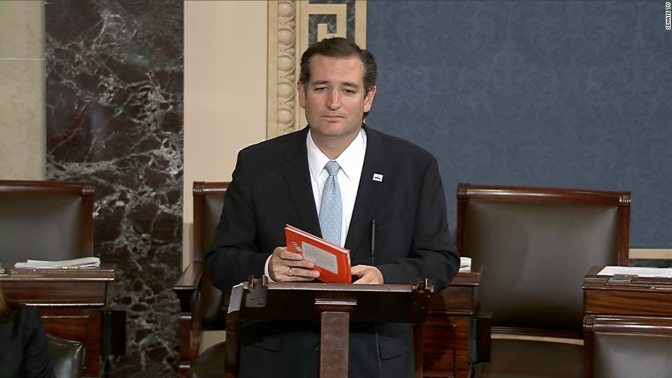 Almost 22 hours after he started, Republican Sen. Ted Cruz of Texas finally ended his oral assault on Obamacare on Wednesday, September 25. His all-night speech blended political rhetoric and emotional pleas for all of his GOP colleagues to join him in blocking any government funding for the health care reforms.<br />Technically, Cruz's remarks did not constitute a filibuster. A filibuster is a tactic used to delay or block a vote on legislation or an appointment. Lawmakers can keep a debate going without interruption indefinitely. They don't have to specify what they are filibustering but must keep speaking or, in the case of one senator on the list, singing. Here are some of the most memorable and longest filibusters in Senate history.