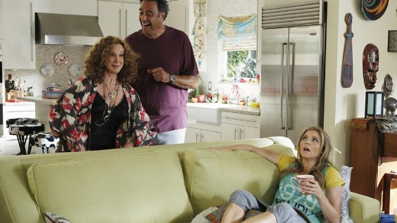 """TV's """"How to Live with Your Parents (For the Rest of Your Life)"""" features Sarah Chalke as a single mom who moves back in with her free-loving parents, played by Elizabeth Perkins and Brad Garrett."""