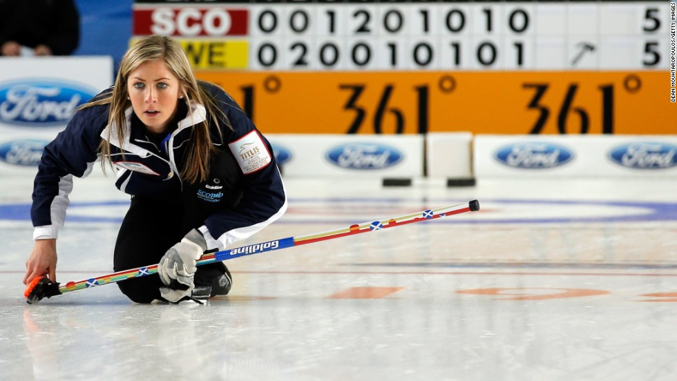 Much of the play is dictated by the skip. Here Great Britain's Muirhead is in action as her side take on Sweden in a battle of skill and science judging by the two nations' research.