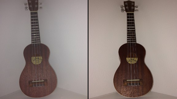 The improved iPhone 5S flash modulates its settings for the situation instead of just emitting a blast of light. These images show how the flash on the iPhone 5 gives the guitar a washed-out look, left, while the iPhone 5S flash at right produces more contrast.