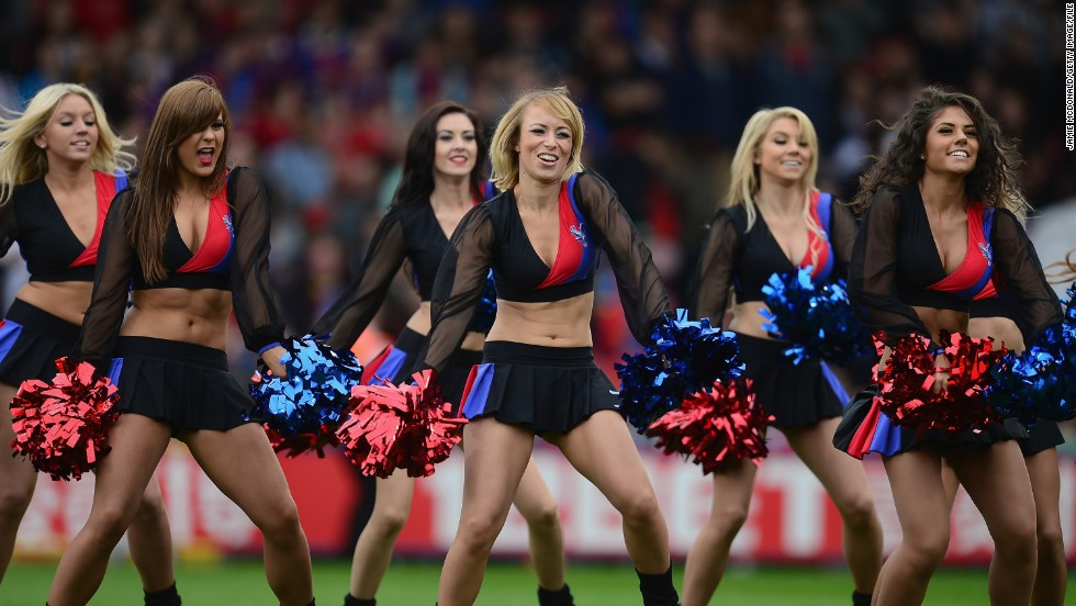 Cheerleading goes global. Here cheerleaders entertain the Selhurst Park crowd at the English Premier League match between Crystal Palace and Swansea City.
