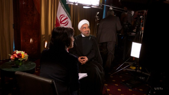 CNN's Christiane Amanpour interviews Iranian President Hassan Rouhani in New York on September 24, 2013.