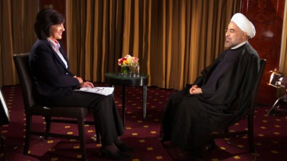CNN's Christiane Amanpour interviews Iranian President Hassan Rouhani in New York on September 24, 2013.
