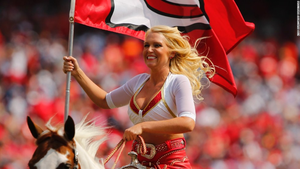 Here Chiefs cheerleader Susie rides Warpaint in between quarters as the Kansas City Chiefs take on the Dallas Cowboys at  the Arrowhead Stadium.