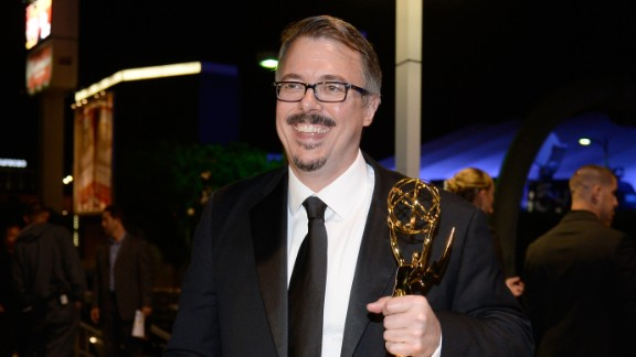 """""""Breaking Bad"""" creator shows off his Emmy from the 2013 Emmy Awards."""