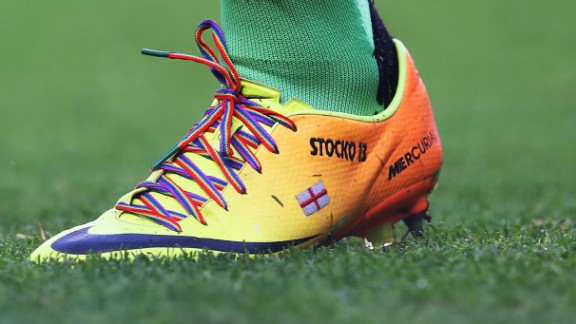 Hysen supported a campaign asking players to wear rainbow-colored laces to promote awareness of homophobia in football. However, Fulham's David Stockdale (pictured) was one of the few players at British clubs who took up the invitation.