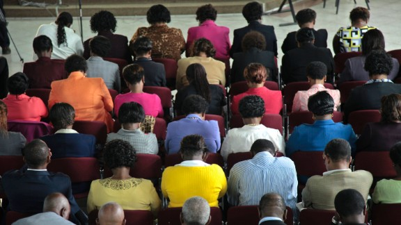 Mourners attend a prayer service held for Mwangi and Wahito at St. Andrews Church in Nairobi on Thursday, September 26.