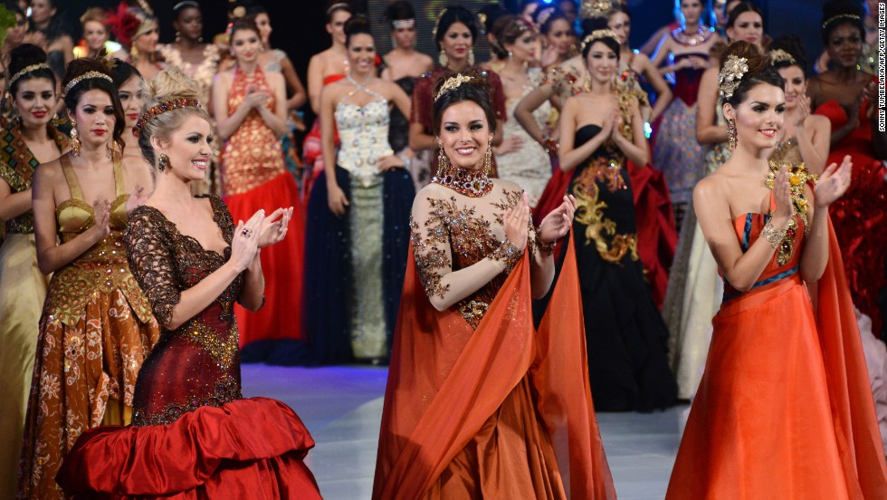 Miss World 2013 contestants clap during a fashion show in Bali on September 24. The Miss World finals originally to be hosted in the capital, Jakarta was forced to move to the Hindu-majority island of Bali after weeks of protests by Muslim hardliners.