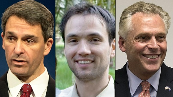Libertarian Robert Sarvis, center, could pull votes away from Republican Ken Cuccinelli, left, which could help Democrat Terry McAuliffe, right.