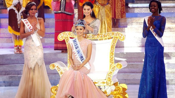 Megan Young, seated, is crowned Miss World 2013 on Saturday.