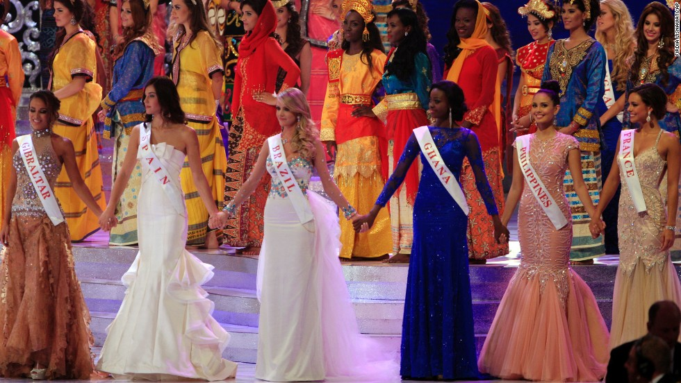 "From left to right, Miss Gibraltar, Maroua Kharbouch; Miss Spain, Elena Ibarbian Jimenez; Miss Brazil, Sancler Frantz Konzen; Miss Ghana, Carranza Naa Okailey Shooter; Miss Philippines, Megan Young; and Miss France, Marine Lorphelin, were the final five contestants of the Miss World 2013 pageant. The 127 contestants competed in beach fashion, fitness, world fashion, talent and ""Beauty with a Purpose"" meant to honor charitable work."