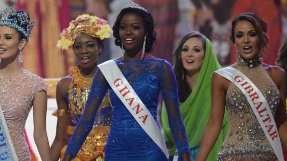 Miss Ghana, Carranzar Naa Okailey Shooter, 22, is a medical student who hopes to become a pediatrician. She brings medical care to rural areas of Ghana in quarterly outreach programs, according to her bio.