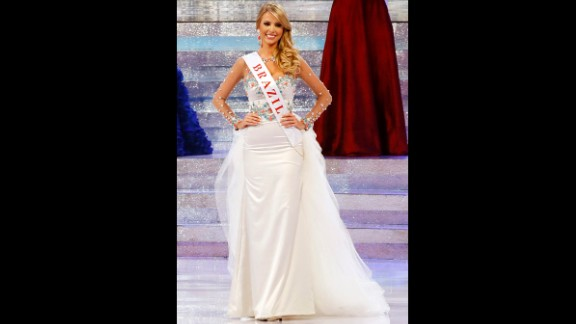 """Miss Brazil, Sancler Frantz Konzen, 22, works as a statewide television presenter. Her personal motto is """"Beauty may open doors, but beauty with a purpose opens hearts and minds,"""" according to her bio."""