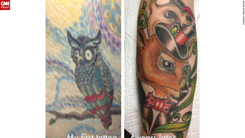 This owl was Booth's first tattoo five years ago. That was when she started apprenticing after she lost her management job at a travel company.