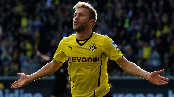 Jakub Blaszczykowski celebrates scoring Borussia Dortmund