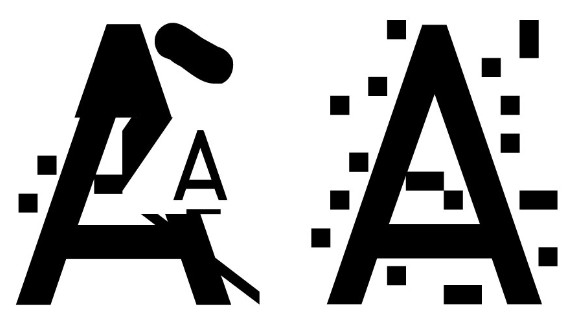 South Korean designer Mun designed four fonts: 'Camo' which adds camouflage-like patterns over letters, 'Noise' which overlays each letter with dots, 'Xed' which puts a neat X across each character, and 'False' where a small letter is placed beneath a larger false one.