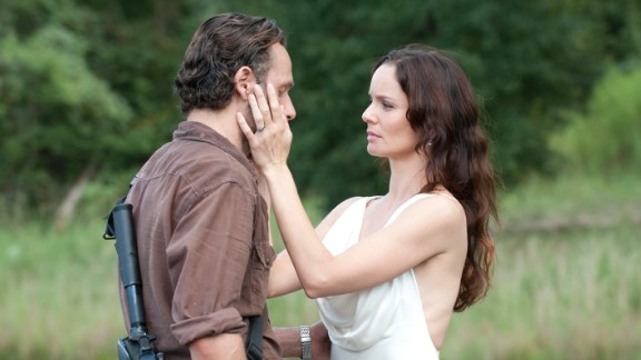 """Rick Grimes (Andrew Lincoln) and Lori Grimes (Sarah Wayne Callies) didn't have a chance to live happily ever after on """"The Walking Dead,"""" as she died in childbirth."""