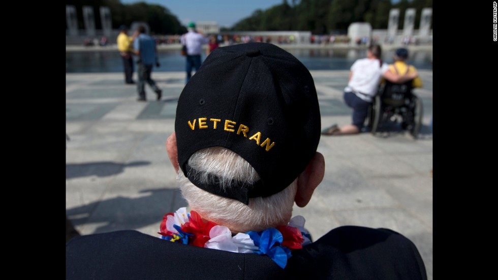 World War II Veteran George Bloss, from Gulfport, Mississippi, looks out over the National World War II Memorial in Washington, on October 1. Veterans who had traveled from across the country were allowed to visit the National World War II Memorial after it had been officially closed because of the partial government shutdown.