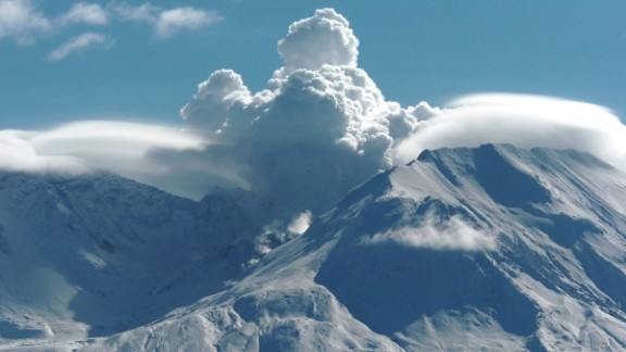 Mount St. Helens is a volcano in the state of Washington, seen here in 2004. It erupted in 1980, spewing out more than 1 cubic kilometer of material. Scientists believe, by comparison, that Martian supervolcanoes could spout 1,000 cubic kilometers of volcanic material.