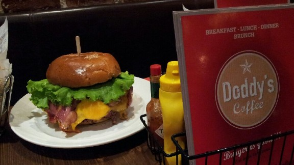 """Behold the """"Zlatan burger"""", a mountain of meat dedicated to Paris Saint-Germain's star striker Zlatan Ibrahimovic. The $41 monster is the brainchild of French cafe manager Jean-Philippe Grandin."""