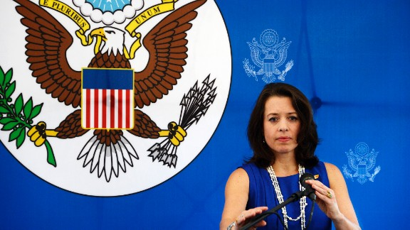 The business manager of the U.S. embassy in Venezuela, Kelly Keiderling, talks during a conference in Caracas on October 1, 2013.