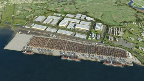 A CGI image of the London Gateway container port as it will look once finished. The port is scheduled to  welcome its first vessel in November.