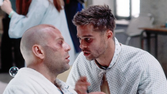 """""""Twelve Monkeys"""" (1995), with Bruce Willis, left, and Brad Pitt, is a tale of twisted time based on the French short """"La Jetee."""" Willis, who has traveled back in time to stop a world-destroying virus, has dreams of a death in an airport. He finally realizes it's no dream; he was a child at the scene and saw his own death. The film was directed by Terry Gilliam."""
