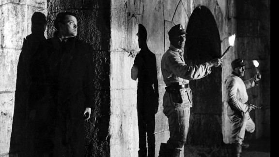 """In one of the great reveals in movie history, black market profiteer Harry Lime (Orson Welles) emerges from the shadows in """"The Third Man"""" (1949). For much of the movie, Holly Martins (Joseph Cotten) and the audience believe Lime is dead."""