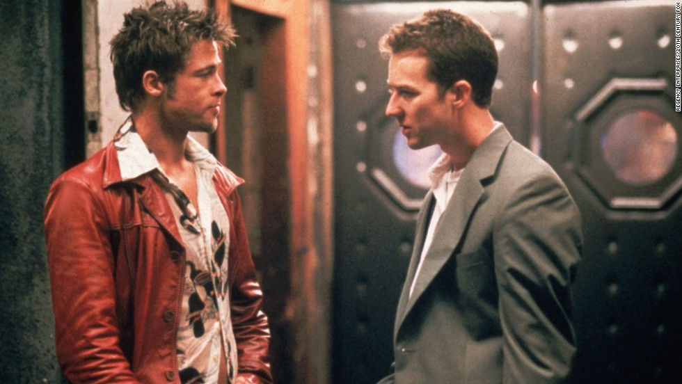 "Just who is the destructive Tyler Durden (Brad Pitt, left), and why does he keep tormenting Edward Norton's unnamed narrator in<strong> </strong>""Fight Club"" (1999)? Well, there's a reason only Norton's character can see Durden: He exists only in the narrator's troubled mind."