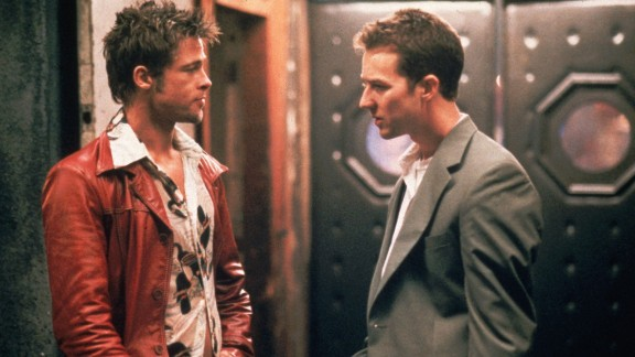 """Just who is the destructive Tyler Durden (Brad Pitt, left), and why does he keep tormenting Edward Norton's unnamed narrator in """"Fight Club"""" (1999)? Well, there's a reason only Norton's character can see Durden: He exists only in the narrator's troubled mind."""